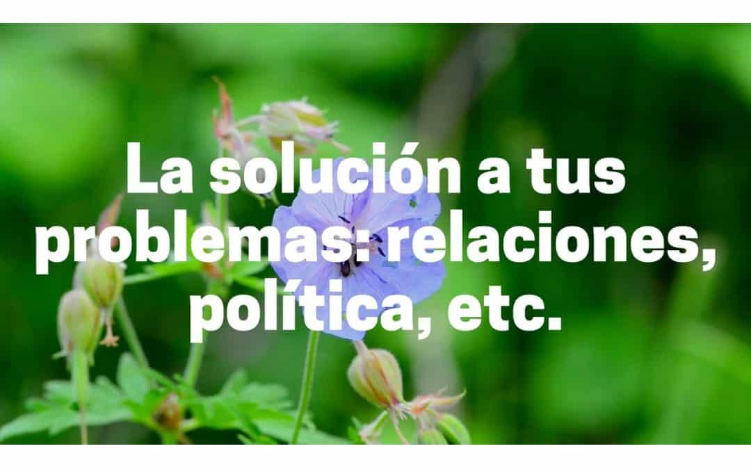 La solución a tus problemas: relaciones, política, etc.